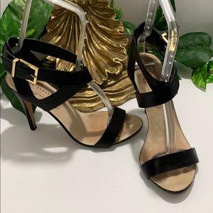 Ted Baker Black Leather Ankle Strap Sandal Heels